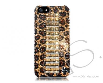Cubical Leopardo Handcrafted Luxury Bling Swarovski Crystals Sparkling Full Glitter Rhinestones Back