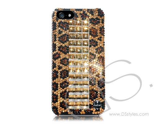 Cubical Leopardo Handcrafted Luxury Bling Swarovski Crystals Sparkling Full Glitter Rhinestones Back