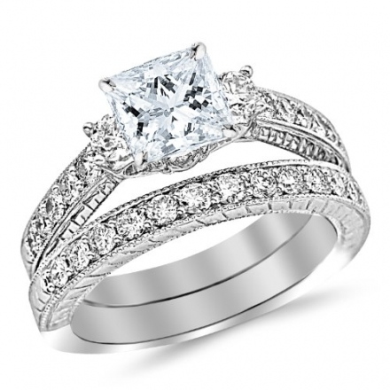 1.53 Carat Princess Cut Three Stone Vintage With Milgrain & Filigree Bridal Set with Wedding Band &