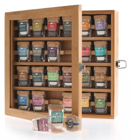 The Best Salts in The World – Collection of 24 Mini-Jars With Cork Tops in Bamboo Presentation Box.