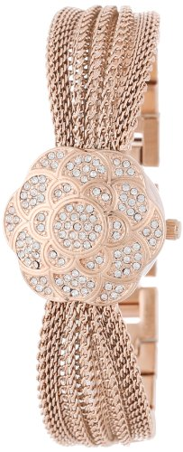 Anne Klein Women's AK/1046RGCV Swarovski Crystal Accented Rose Gold-Tone Covered Dial Mesh Bracelet