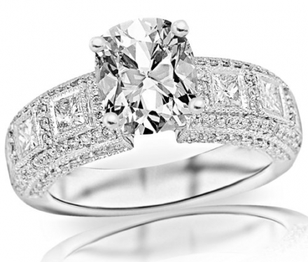 1.85 Carat Cushion Cut / Shape 14K White Gold Exquisite Bezel Set Princess Cut And Pave Set Round Di