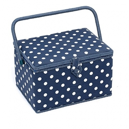 Hobby Gift Polka Dot Design Sewing Box White Spots on Navy Large (23.5 x 31 x 20cm)