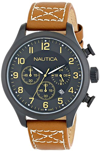 "Nautica Men's N16599G BFD 101 ""Chrono Classic"" Stainless Steel Watch with Leather Band"