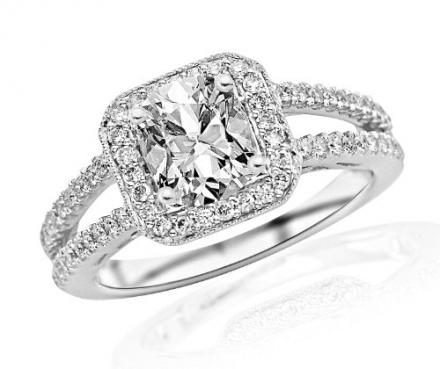 1.2 Carat Designer Split Shank Halo Style With Milgrain Diamond Engagement Ring (I Color, VS2 Clarit
