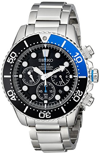 "Seiko Men's SSC017 ""Solar Dive"" Stainless Steel Dive Watch"