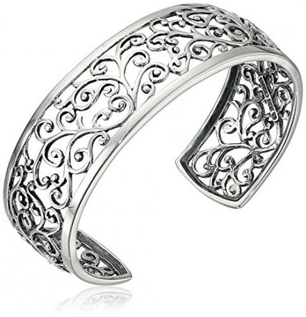 Sterling Silver Filigree Cuff Bracelet, 6.5″