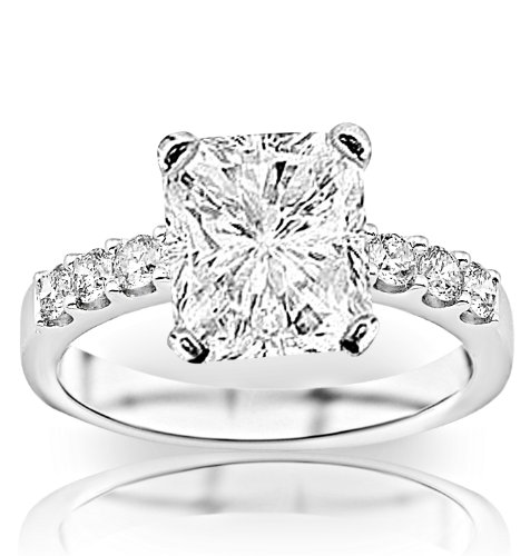 1.23 Carat GIA Certified Radiant Cut / Shape Classic Prong Set Round Diamond Engagement Ring (F Colo