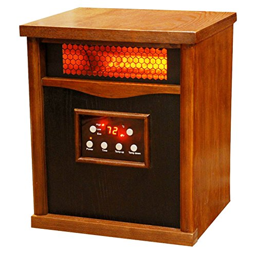 Lifesmart Pro 6 Element Large Room Infrared Quartz Heater w/Wood Cabinet and Remote