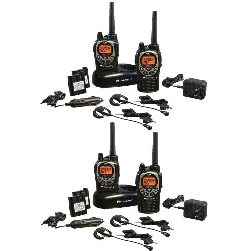 Midland GXT1000VP4 36-Mile 50-Channel FRS/GMRS Two-Way Radio Total of 4 Radios with Focus Camera $10