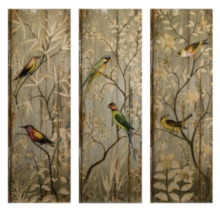 IMAX Calima Bird Wall Decor, Set of 3