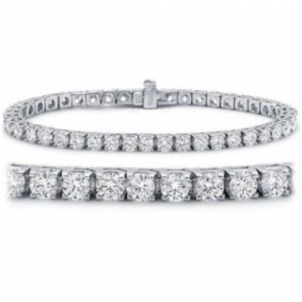 IGI Certified Classic Round Brilliant Diamond Tennis Bracelet in 14K White Gold (K-L Color, I2 Clari