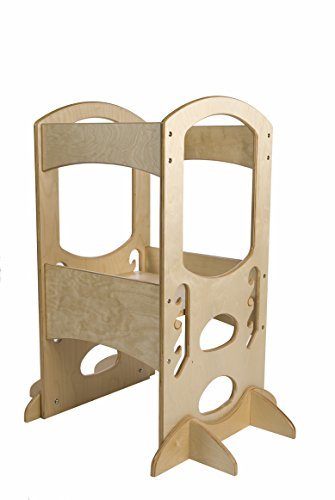 #1 Kitchen Step Stool for Toddlers ★ Little Partners Learning Tower, Natural ★ Adjustable Height