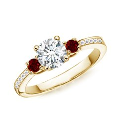 Thanksgiving Gift – Prong Set Three Stone Round Diamond and Ruby Ring