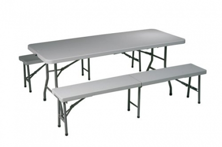 Office Star 3-Piece Folding Table and Bench Set