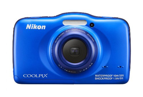 Nikon COOLPIX S32 13.2 MP Waterproof Digital Camera with Full HD 1080p Video (Blue)