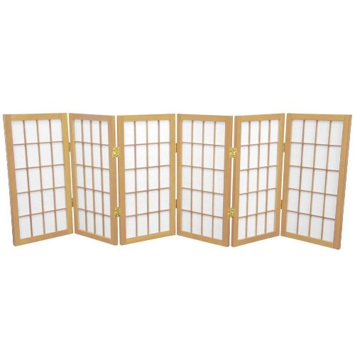 Oriental Furniture Extra Wide Short Size Folding Wood and Paper Shade 2-Feet, 24-Inch Tall Window Pa