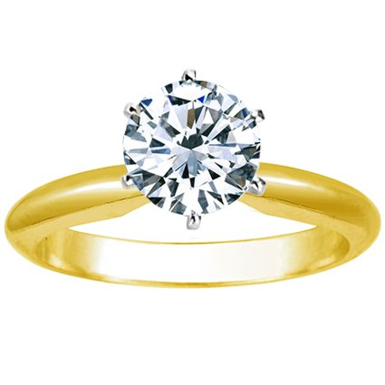 2/3 Carat Round Cut Diamond Solitaire Engagement Ring 14K Yellow Gold 6 Prong (G-H, VS2-SI1, 0.6 c.t
