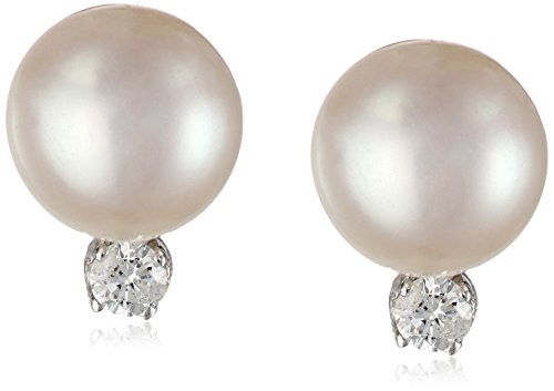 14k Gold White Freshwater Cultured Pearl (7-7.5mm) and Diamond Stud Earrings (1/10 cttw, H-I Color,