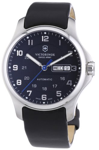 Victorinox Swiss Army Men's 241546.1 Leather Officers Automatic Analog Grey Dial Watch