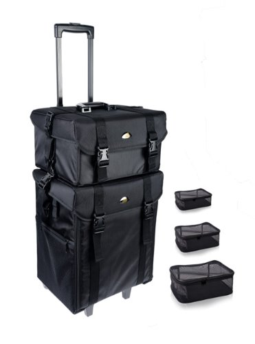 SHANY Cosmetics 2 Compartment Soft Black Rolling Trolley Makeup Case with Free 3 Piece Organizer Mes