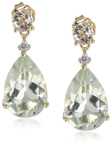 10k Yellow Gold, Gemstone, and Diamond Drop Earrings