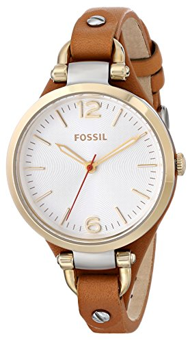 Fossil Women's ES3565 Georgia Three-Hand Leather Watch – Brown