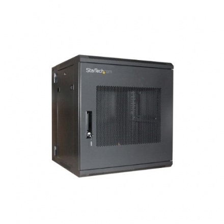 StarTech.com 12U 19-Inch Hinged Wall Mount Server Rack Cabinet with Steel Mesh Door RK1219WALHM (Bla