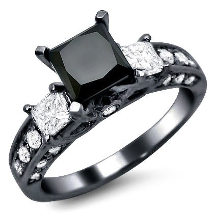 2.35ct Black Princess Cut 3 Stone Diamond Engagement Ring 14k Black Gold Rhodium Plating Over White