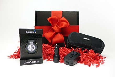 Garmin Approach S4 HOLIDAY GIFT BOX (+$50 REBATE) | Golf GPS Watch, Case, Wall & Car Charge Adapters