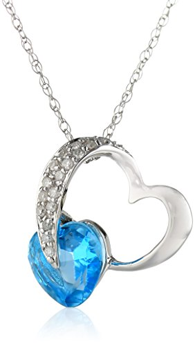 10k Gold Heart Diamond and Gemstone Pendant Necklace, 18″