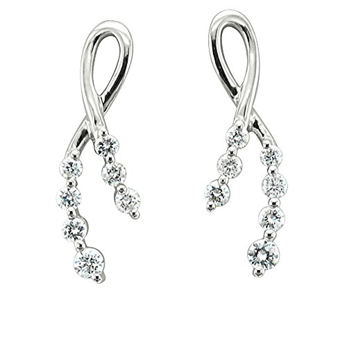14k White Gold 7-Stone Ribbon Journey Diamond Earrings (GH, I1-I2, 0.38 carat)