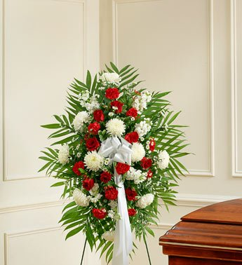 1800Flowers – Deepest Sympathies Red & White Standing Spray – Small