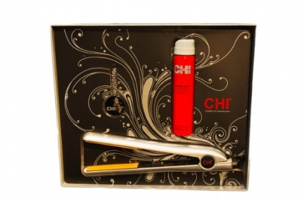 Chi Flat Iron with Solid Perfume Necklace Helmet Head Hairspray, Silver, Diamond Ice