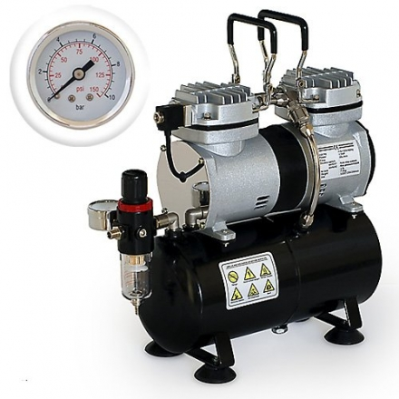 PointZero – Pro Airbrush Air Compressor Twin Piston w/ Tank 1/3 HP