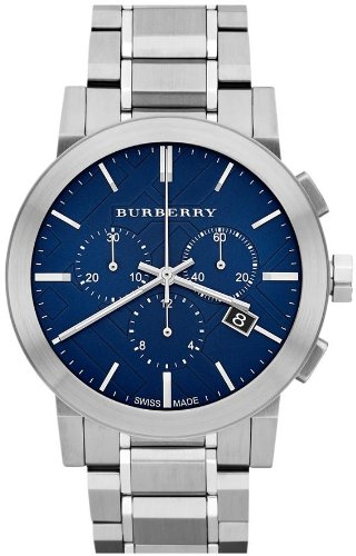 Burberry Chronograph Blue Dial Stainless Steel Mens Watch BU9363