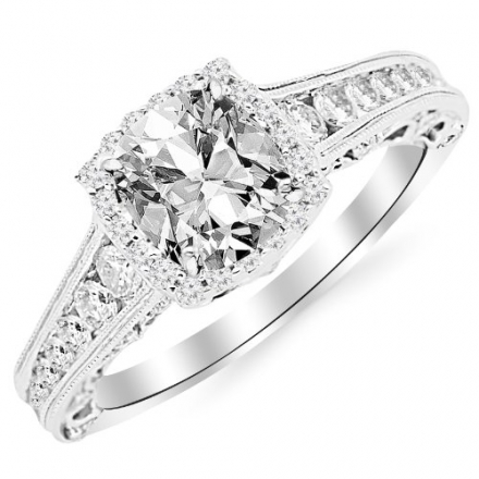 GIA Certified 1.45 Carat Cushion-Cut 14K White Gold Vintage Sidestone Diamond Engagement Ring with M