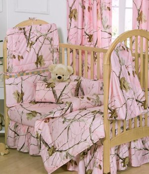 Realtree AP Pink Camo 6 Piece Crib Set includes (Crib Fitted Sheet, Crib Bumper Pad, Crib Headboard
