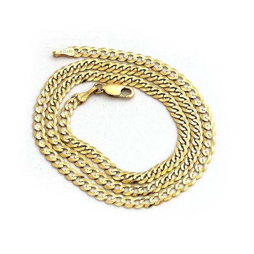 Solid 14k Yellow Gold Comfort Cuban Curb 3.6mm Chain Mens Necklace 18″, 20″, 22″, 24″