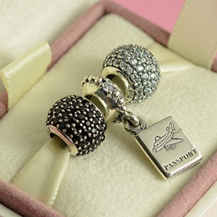 Authentic Pandora Clear Pave Lights Charm For Bracelet Rhinestone CZ with Passport set