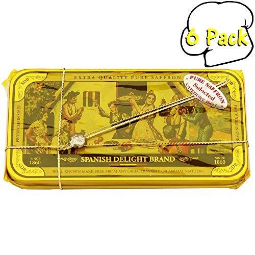 Pure Grade 1 Mancha Saffron Threads in an Attractive Tin Box-10gm-0.35oz., 6 Per Case