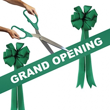 Grand Opening Kit – 25″ Green/Silver Ceremonial Ribbon Cutting Scissors with 5 Yards of 6″ Green Gra