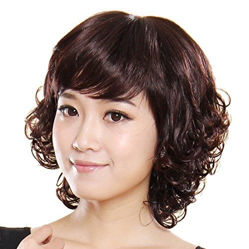 Gooaction Charming Short Curly Brown Woman Real Human Hair Wig