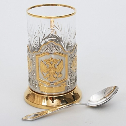 Russian Federation Coat of Arms Gold Plated Classic Russian Tea Glass Metal Holder / Podstakannik fo