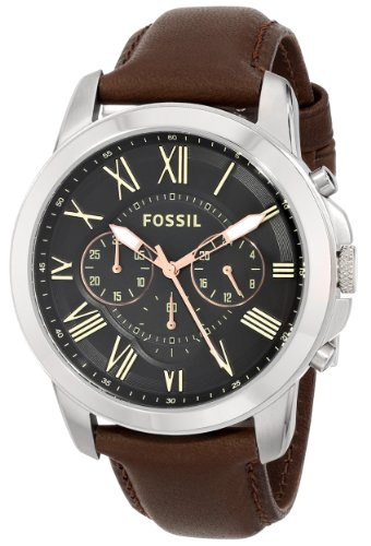 Fossil Men's FS4813 Grant Chronograph Leather Watch – Brown