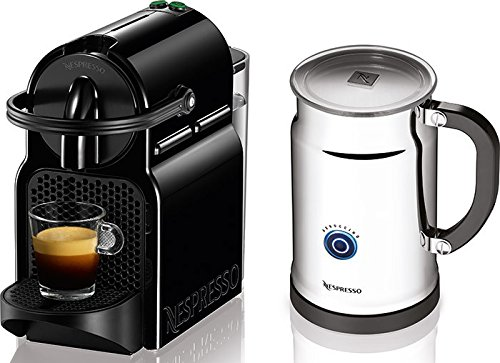 Nespresso Inissia Espresso Maker with Aeroccino Plus Milk Frother, Black