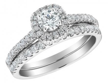 Diamond Engagement and Wedding Band Set 1.0 Carat (ctw) Halo in 10K White Gold