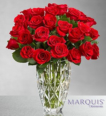1-800-Flowers – Marquis by Waterford Vase + 24 Red Roses – Crimson Red Roses…