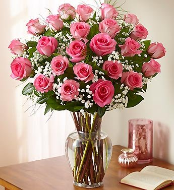 1800Flowers – Ultimate Elegance Premium Long Stem Pink Roses – 24 Stem Pink…