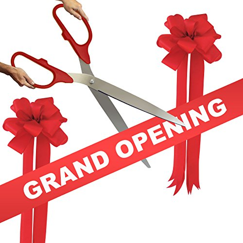Grand Opening Kit – 36″ Red/Silver Ceremonial Ribbon Cutting Scissors with 5 Yards of 6″ Red Grand O
